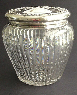 Antique ABP Cut Crystal Cracker Jar With Sterling Silver Lid