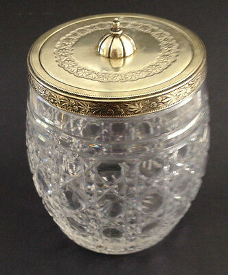 Antique English Cut Crystal Cracker Jar with Silver Lid