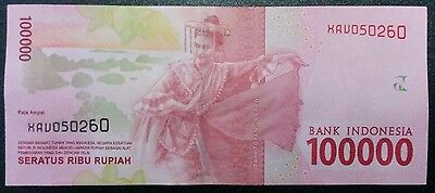 Indonesia Money 100,000 (100000) Rupiah Notes Uncirculated (2016 Emission)