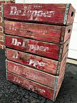 6 Vintage Faded Weathered Dr Pepper Wood Soda Pop Crates 4 Divider Crates