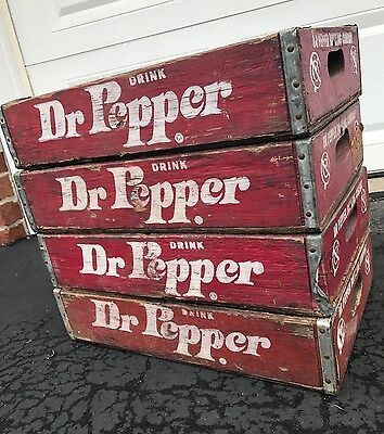 4 Vintage 1970's  Dr Pepper Wood Soda Pop Crates 4 Divider Crates