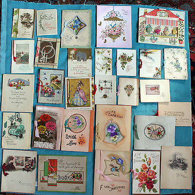 Job Lot Collection 29 X  Early Greetings Cards Valentine Glitter Tuck Embossed