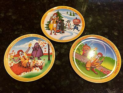 Set Of 3 VINTAGE 1977 Fall, Winter, Spring McDonald's Collectors Plates