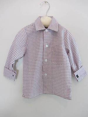 Vintage little boys check formal shirt red & blue age 1 NWT's 1970's