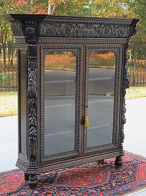 Antique English Carved Oak Renaissance Revival GOTHIC Bookcase Display Cabinet