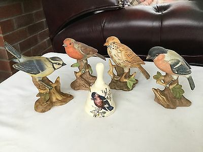 4 Bird Ornaments And A China Bell