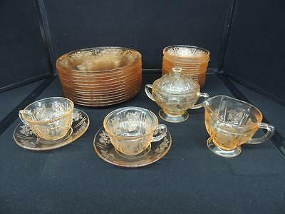 36 Pcs Sharon Cabbage Rose Pink Depression Glass By Federal Glass