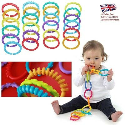 24pcs New Plastic Baby Stroller Gym Play Mat Toys Rainbow Teether Ring Links UK