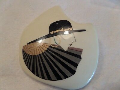 Vintage Large Ceramic Fashion Lady Brooch