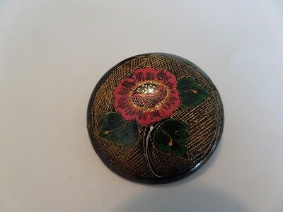 Vintage Painted Flower Brooch