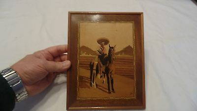 Signed Exotic Wood Marquetry Inlay Picture Mexican Cowboy Desert Landscape