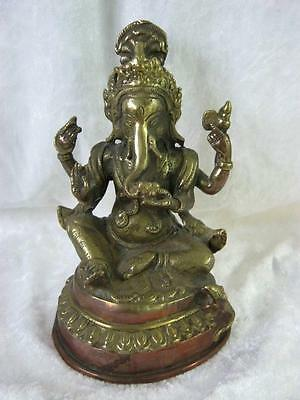 Ganesh Hindu Elephant God Figure on Lotus Brass and Copper