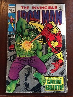 The Invincible Iron Man 9 Marvel 1969 There Lives a Green Goliath! Hulk