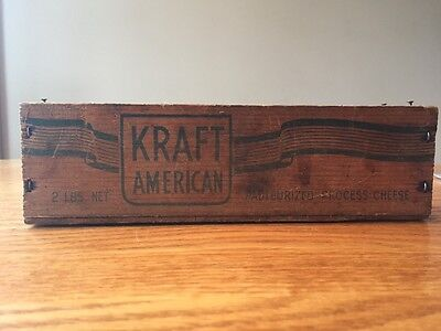 Vintage Kraft American Cheese Wooden Box 2 Lbs