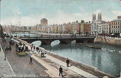 Old Postcard Grattan Bridge Dublin & River Liffey Ireland