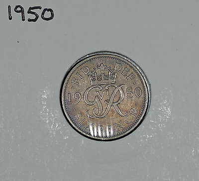 1950 George VI Silver Sixpence – GEF Toned