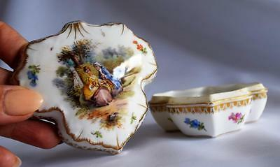 Crown Dresden~Antique China Rococo~Trinket~Pot~c1800~Porcelain~Helena Wolfsohn