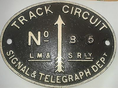 LMS railway signal and telegraph department cast iron track circuit plate