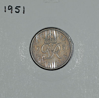 1951 George VI Silver Sixpence – GEF Toned