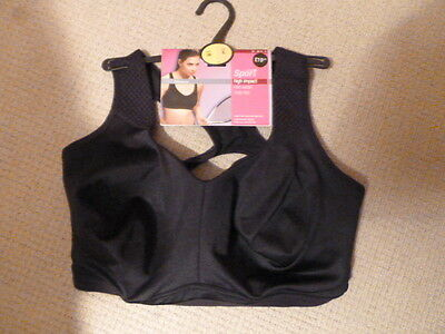 Marks And Spencer Size 38E Black Sport High Impact Non Wired Crop Top.New.