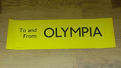 London Transport Routemaster Bus Slipboard Poster - TO AND FROM OLYMPIA