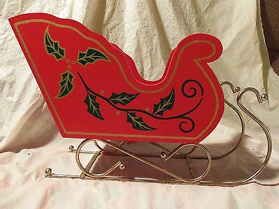 """Large Red Wood & Metal Christmas Holly Sleigh 13"""" Long"""