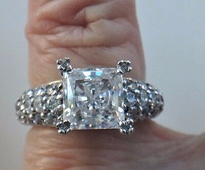 Solid Sterling CZ Ring Sz 5 2 Carat Solitaire 3 Row Pave Band Friendship