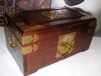 "Lg 12"" ASIAN JEWELRY Organizer BOX Solid WOOD & BRASS Oriental Drawers & Handles"