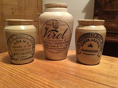 Three lovely VICTORIAN/EDWARDIAN cream and meat paste preserve pots