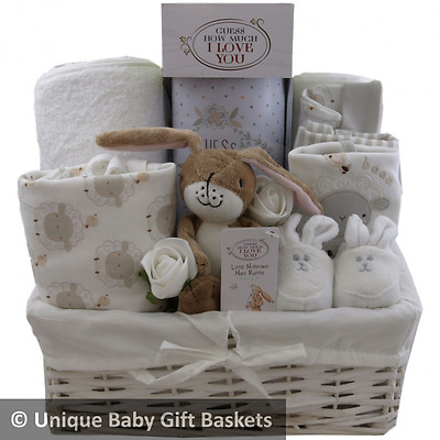 Deluxe baby gift basket/hamper keepsake capsule Guess How Much I Love You unisex