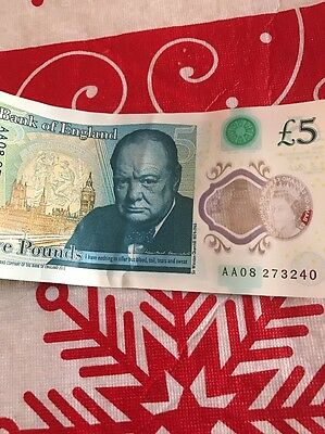 New £5 Polymer Note AA08 273240
