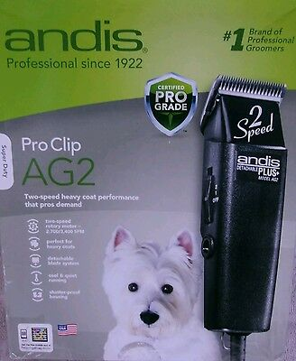 Andis ProClip AG2 2-Speed Detachable Blade Clipper, Professional Animal Grooming