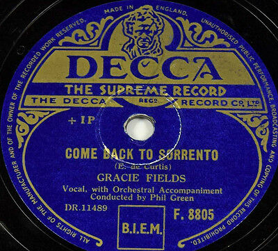 Schellackplatte - Gracie Fields - Now Is The Hour / Come Back To Sorrento