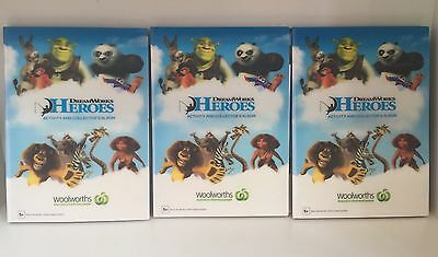 3 Complete DREAMWORKS HEROES Woolworths Albums Folders With Cards