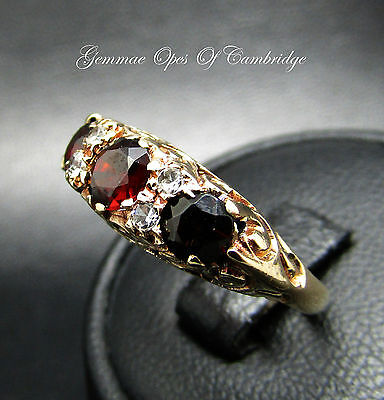 9ct Gold Garnet and Clear Stone Eternity Ring Size K 2.6g