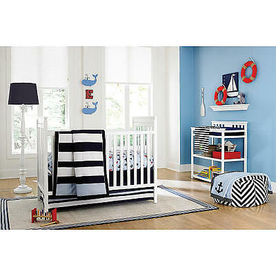 New Sadie & Scout Navy Stripe Comforter Infant Baby Crib Nursery Unisex NIP
