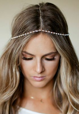 Gold Pearl Bohemain Wedding festival Headdress Headband Headpiece head chain