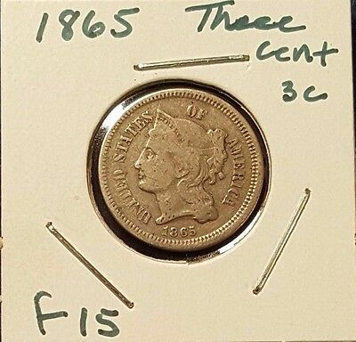 1865 3CN Three Cent Nickel - Nice coin with Fine detail