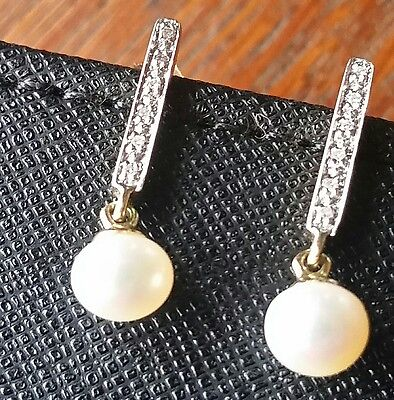 9ct white and yellow gold diamond and pearl earrings