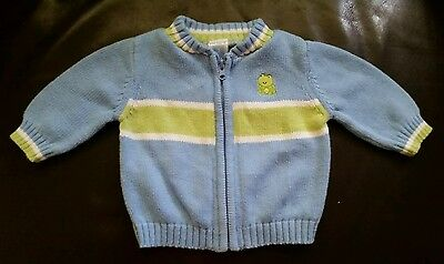 Carter's Baby Boy Blue Cotton Cardigan Sweater Size 3 Months Zip Front