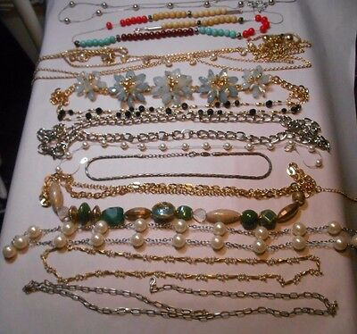 Mixed Lot Of 12 Gold Silver Tone Necklaces, Some Vintage