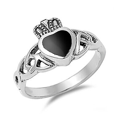 Men Women 11mm Silver Black Onyx Heart Celtic Claddagh Vintage Style Ring Band