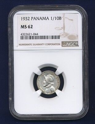 Panama  1932  1/10 Balboa Silver Coin, Uncirculated, Certified Ngc Ms-62
