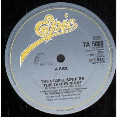 """STAPLE SINGERS This Is Our Night 12"""" VINYL UK Epic 1984 3 Track B/W Right"""