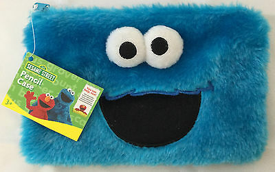 Sesame Street Cookie Monster Kids Fluffy Pencil Case - Back To School