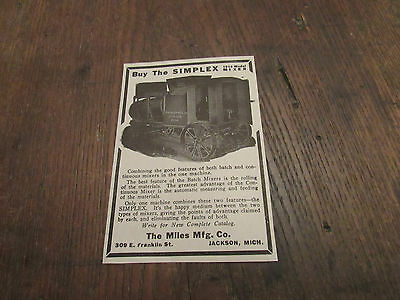 1914 Miles Mfg.co.simplex Batch Mixer Print Ad Jackson Mi Vintage Construction