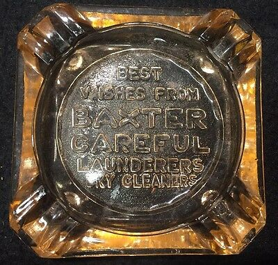 Vtg Ca 20s BAXTER CAREFUL Dry Cleaners Advertising Pink Depression Glass Ashtray