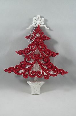 Red and White Glittered Christmas Tree Ornament new holiday