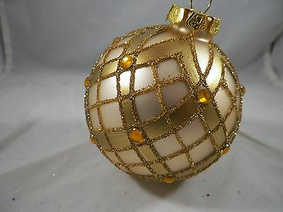 Gold Glittered and Jeweled Ball Christmas Tree Ornament new holiday