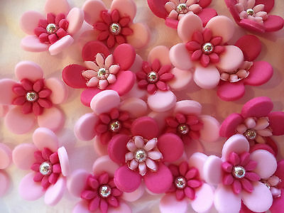 15 Edible Decorations Cupcake Toppers Cake Flowers Multi Blossom Flower